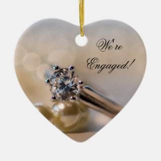 Diamond Ring and Pearls Engagement Heart Ornament