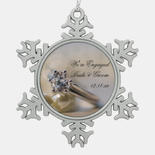 Diamond Ring and Pearls Engagement Snowflake Pewter Christmas Ornament