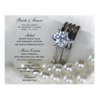 Diamond Ring and Pearls Wedding Menu Full Color Flyer