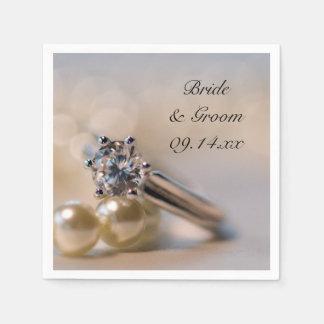 Diamond Ring and Pearls Wedding Paper Napkin
