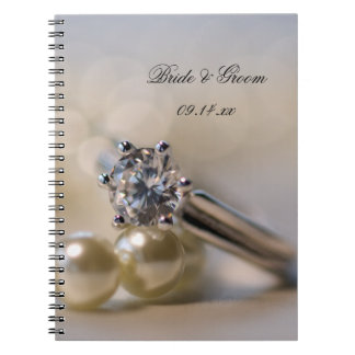 Diamond Ring and Pearls Wedding Spiral Notebook