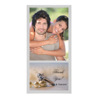 Diamond Ring and Pearls Wedding Thank You Card