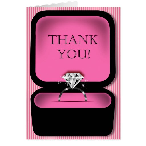 Diamond Ring Box Bling Thank You Pink Card Zazzle