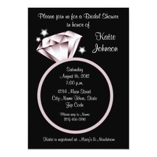 Diamond Ring Bridal Shower Invitation black white