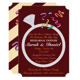 Diamond Ring Cranberry And Ivory Party Invitation