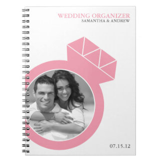 Diamond Ring Custom Photo Wedding Organizer Spiral Notebook