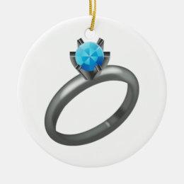 Diamond Ring - Emoji Ceramic Ornament