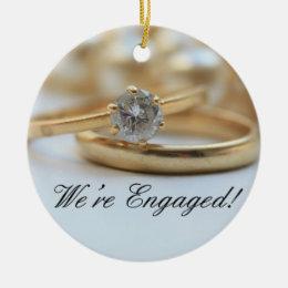 Diamond ring engagement announcement ceramic ornament