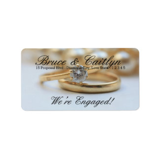 Diamond ring engagement announcement label