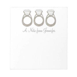 Diamond Ring Personalized Bride Wedding Notepad