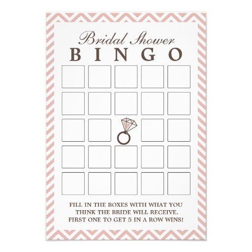 "Diamond Ring Pink Zigzag Bridal Shower Bingo Cards 3.5"" X 5 ..."