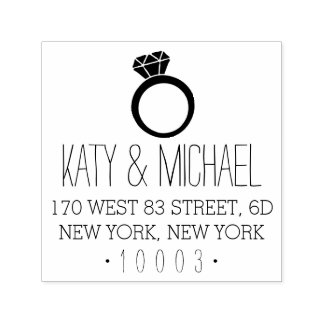 Diamond Ring Return Address Stamp