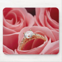 Diamond Ring Roses Mouse Pad