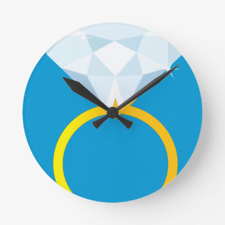 Diamond Ring Round Clock