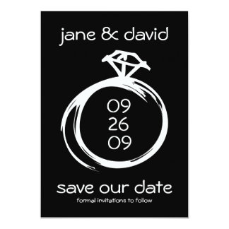 Diamond Ring Save The Date Announcements