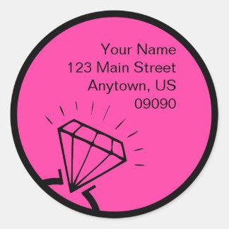 Diamond Ring Silhouette Address Label (Pink) Round Sticker