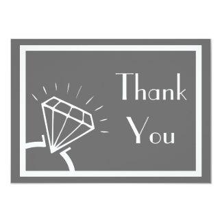 Diamond Ring Silhouette Thank You (Dark Gray) Card