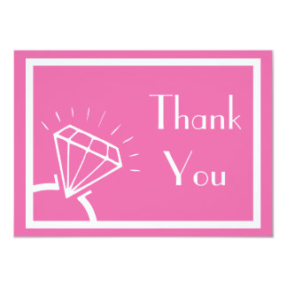 Diamond Ring Silhouette Thank You (Dark Pink) Card