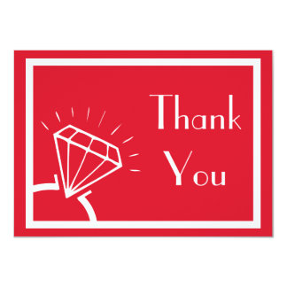 Diamond Ring Silhouette Thank You (Dark Red) Card