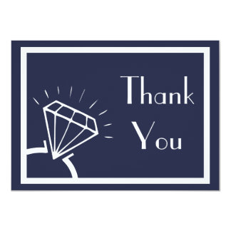 Diamond Ring Silhouette Thank You (Midnight Blue) Card