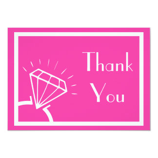 Diamond Ring Silhouette Thank You (Pink / White) Card