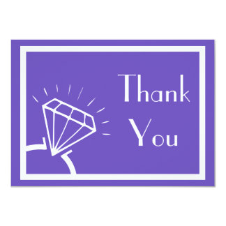 Diamond Ring Silhouette Thank You (Purple / White) Card