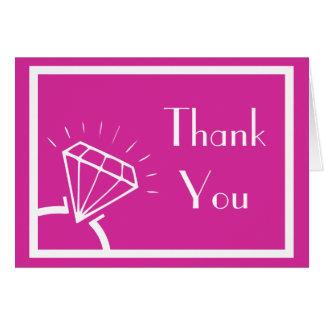 Diamond Ring Silhouette Thank You (Raspberry) Card