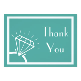 Diamond Ring Silhouette Thank You (Teal) Card