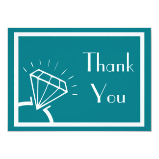 Diamond Ring Silhouette Thank You (Turquoise) Card