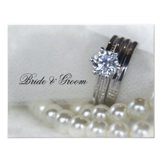 Diamond Rings and Pearls Wedding 4.25x5.5 Paper Invitation Card