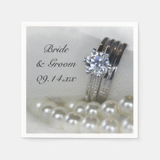 Diamond Rings and Pearls Wedding Standard Cocktail Napkin