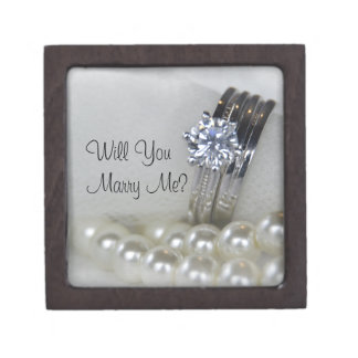 Diamond Rings and Pearls Will You Marry Me Gift Box