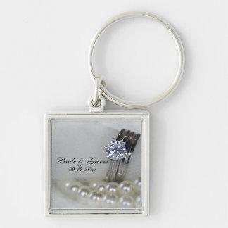 Diamond Rings and White Pearls Wedding Keychain