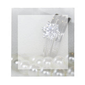 Diamond Rings and White Pearls Wedding Note Pad