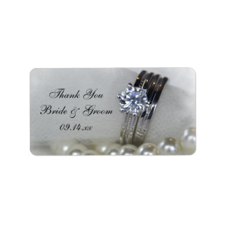 Diamond Rings Pearls Wedding Thank You Favor Tag