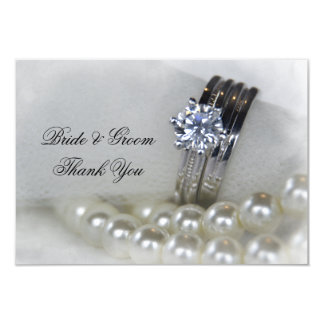 Diamond Rings Pearls Wedding Thank You Flat Notes Card
