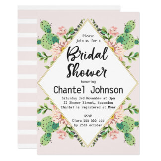 Diamond Shape Cactus Bridal Shower Invitation