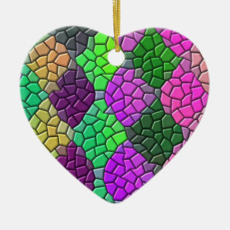 Diamond Shape Mosaic Pink Green Heart Ornament
