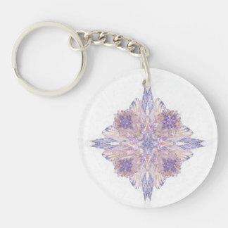 Diamond Shaped Fractal Art Floral Bouquet Keychain