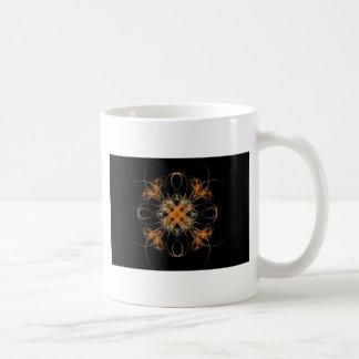 Diamond Shaped Orange and White Fractal Art Coffee Mug