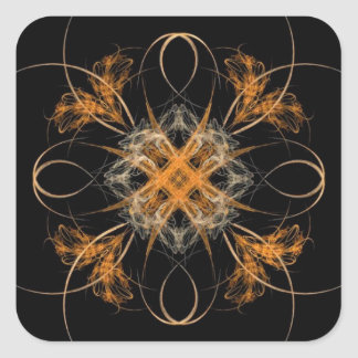 Diamond Shaped Orange and White Fractal Art Square Stickers