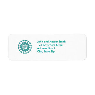 Diamond Shapes in Teal Turquoise, Mandala Address Label