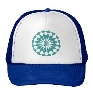 Diamond Shapes in Teal Turquoise, Mandala Hats