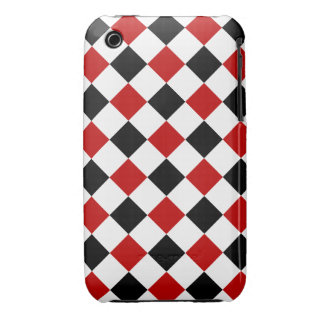 Diamond Shapes, Red and Black iPhone 3g/3gs Case