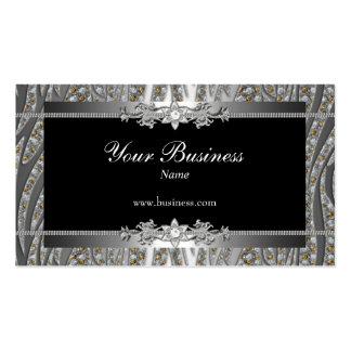 Diamond Silver Black Elegant Zebra Jewel Double-Sided Standard Business Cards (Pack Of 100)