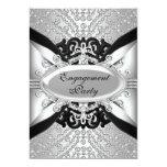 Diamond Silver & Black Engagement Party Invite