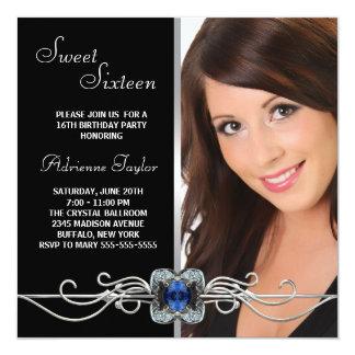 Diamond Silver Black Photo Sweet Sixteen Birthday Card