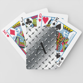 Diamond silver plate steel monogram bicycle playing cards
