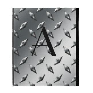 Diamond silver plate steel monogram iPad case