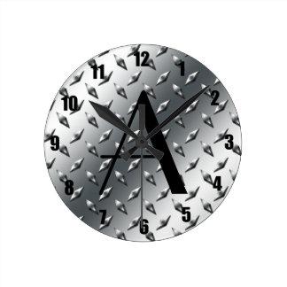 Diamond silver plate steel monogram round clocks